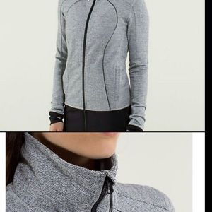 Lululemon 10 Ghost herringbone 'Nice Asana' Zip-Up